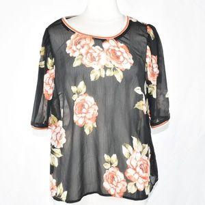 Black Floral Chiffon Short Sleeve Blouse Top XXL